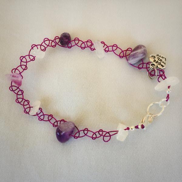 Amethyst and White Quartz Wirewoven Bracelet – Soul4Style