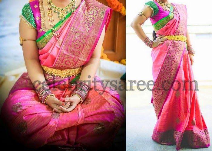 Bride in Raw Silk Floral Saree | Saree Blouse Patterns