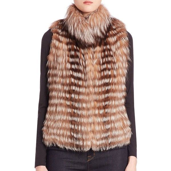 Michael Kors Collection Fox Fur Vest ($746) ❤ liked on Polyvore featuring outerwear, vests, apparel & accessories, crystal, brown waistcoat, fox vest, sleeveless vest, fox fur vest and michael kors vest