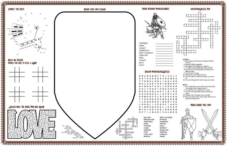Placemats for Blue&Gold?  make your own word searches, maze crossword