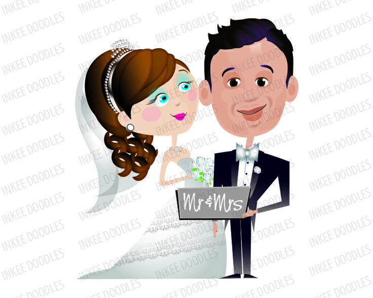 Bride and Groom Clip Art, with accessories. Total of 16 different clip art design pieces available in png and jpeg file formats. $6.00 #bride #groom #clipart #wedding #bridal #accessories