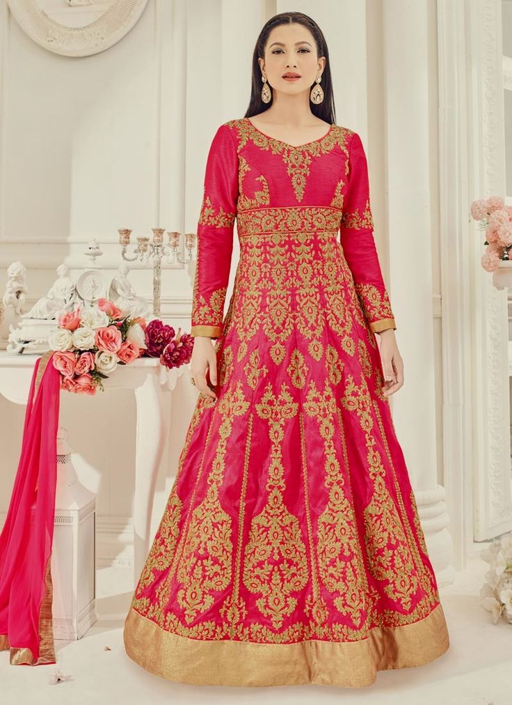 Gauhar Khan Art Silk Embroidered Work Hot Pink Floor Length Anarkali Suit
