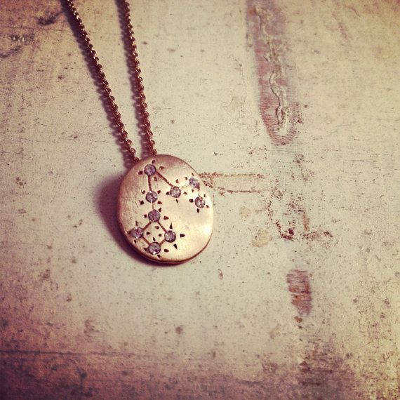 Hand Made Pisces Zodiac Sign Constellation Necklace Gold Pisces Star Sign Charm Zodiac Charm Small Charm W101 on Etsy, $20.00