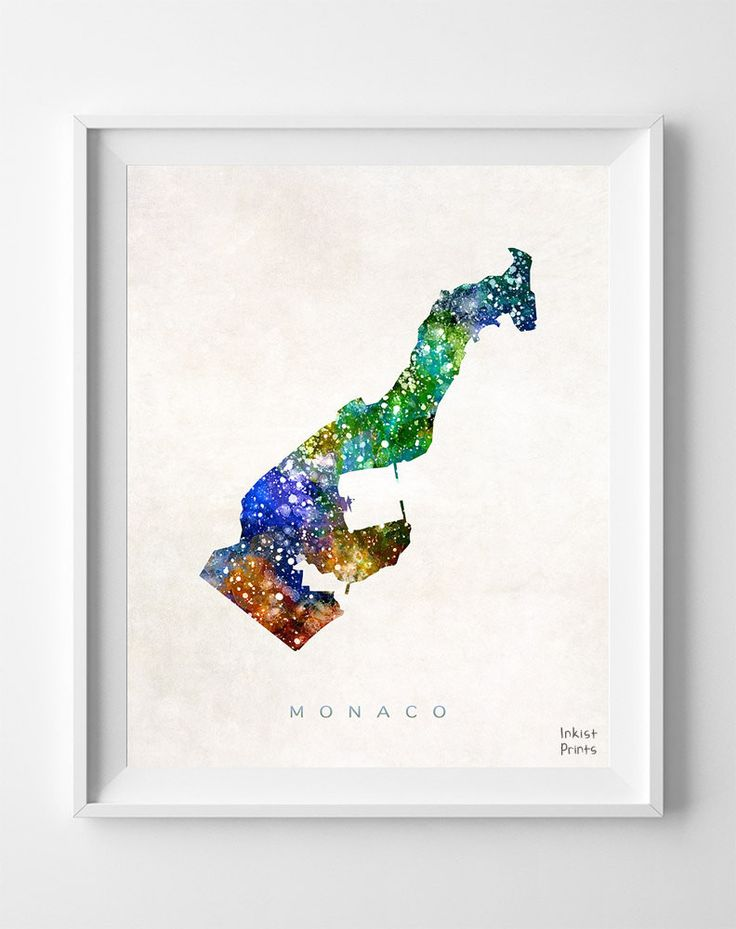 Monaco Watercolor Map Print