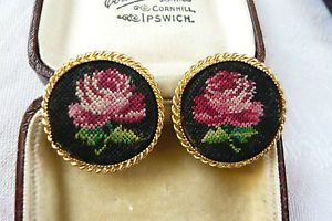 VINTAGE JEWELLERY PETIT POINT EMBROIDERED ROSE FLOWER EARRINGS CLIP ON