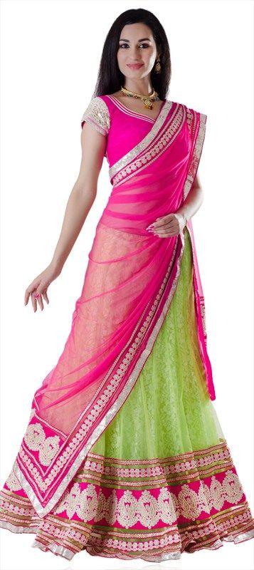 Exclusive Lehenga, Net, Border, Lace, Gota Patti, Pink and Majenta, Green Color Family