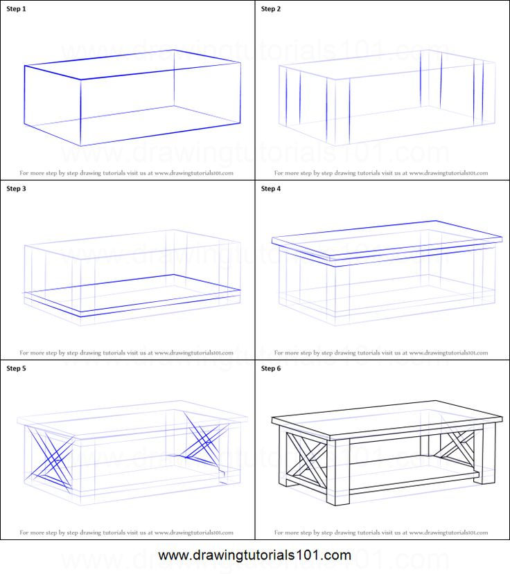 How to Draw a Coffee Table printable step by step drawing sheet : DrawingTutorials101.com