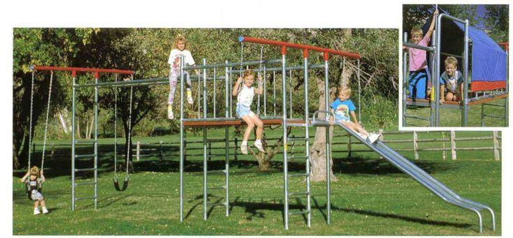 7 best swingsets images on pinterest metal swing sets for Trampoline porch swing