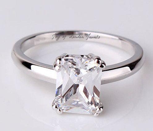 A Perfect 2 Carat Emerald Cut Russian Lab Diamond 18K White Gold Promi – Joy Of London Jewels