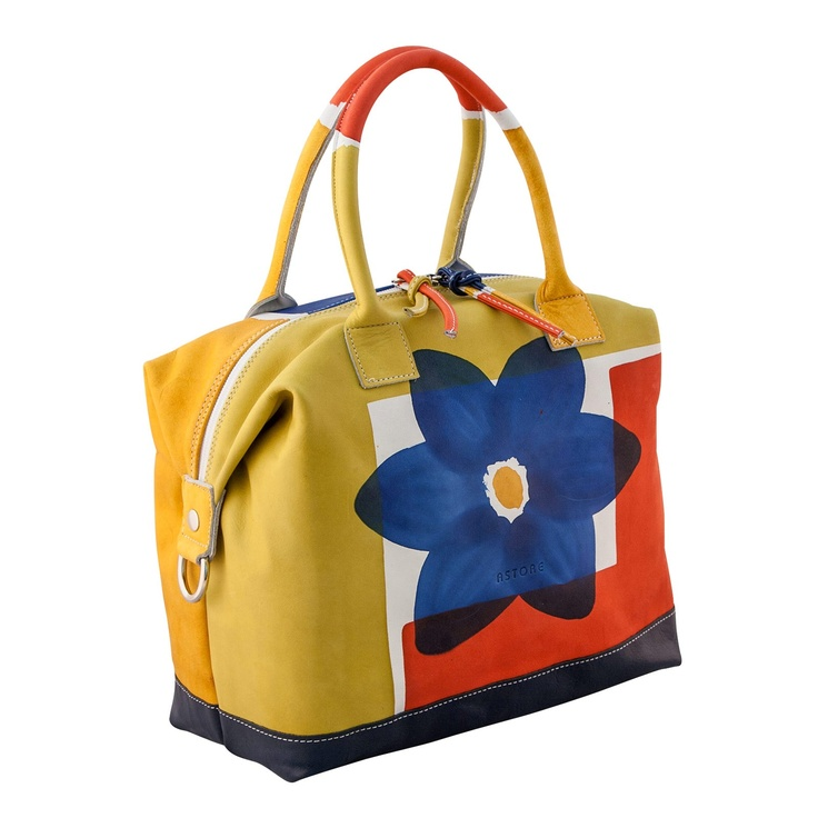 Astore Bag Acquerello Blu Fiore Flat tote/Bucket-style/Boxy shape 100% Genuine Leather Fully Handpainted 100% Made in Italy Size: 29x13x23cm #handbag #madeinitaly #astore