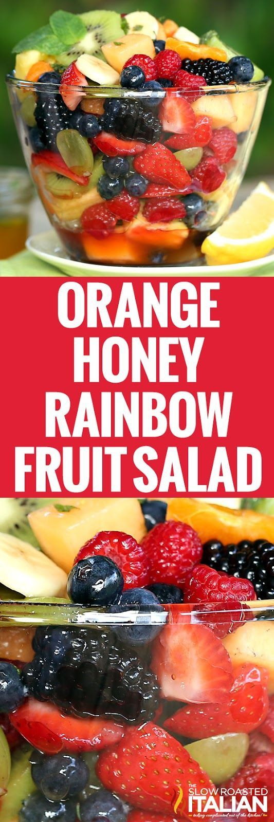 This orange honey rainbow fruit salad recipe is like a party for your senses.  The orange honey dressing includes a secret ingredient that brings this salad to life.
