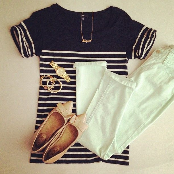 : Mint Pants, Nude, Style, Navy Stripes, Mint And Navy, White Pants, Flats, White Jeans, Spring Outfits