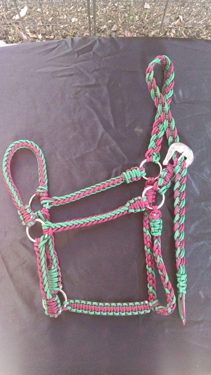 Paracord Standard Size Horse Halter-$30 Burgundy/ Kelley Green Available@ GypsysEquinePARATack.etsy.com