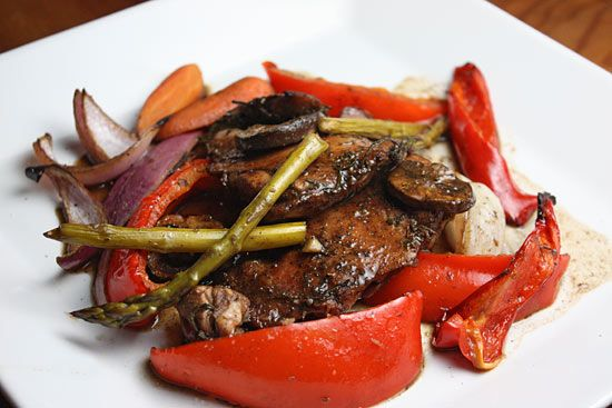 Balsamic Chicken with Roasted Vegetables   Skinnytaste Made this for dinner last night. A few changes. Used boneless-skinless chicken breasts - and made the whole thing on the grill in a roasting pan! Helped to have the fresh herbs from our garden. It's a keeper!!!!