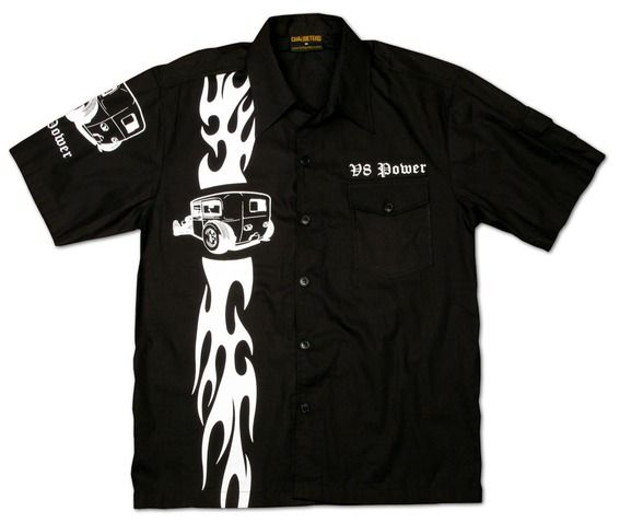 Chaquetero's V8 Power Hot Rod Racing Flame Workershirt For Men