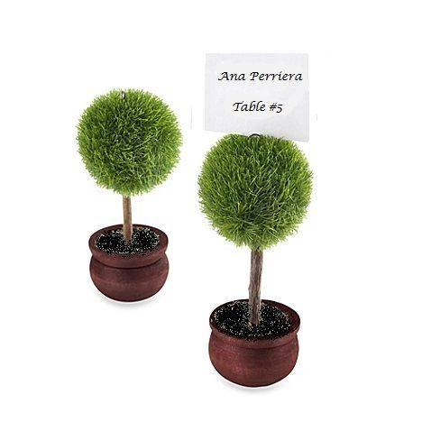 """10 x Topiary Tree Place Name Holders  Sculpted green grass-like round shaped topiary top """"growing"""" out of a dark stained wooden pot!  A unique name card, or table number holder that will impress your guests.  Will work well with handmade place cards."""
