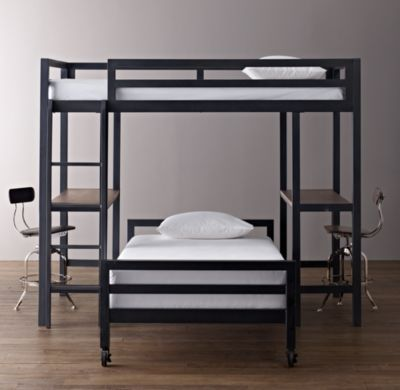 LOVE the two desks...Industrial Loft Study Bunk Bed with 2 Desks | All Beds | Restoration Hardware Baby & Child