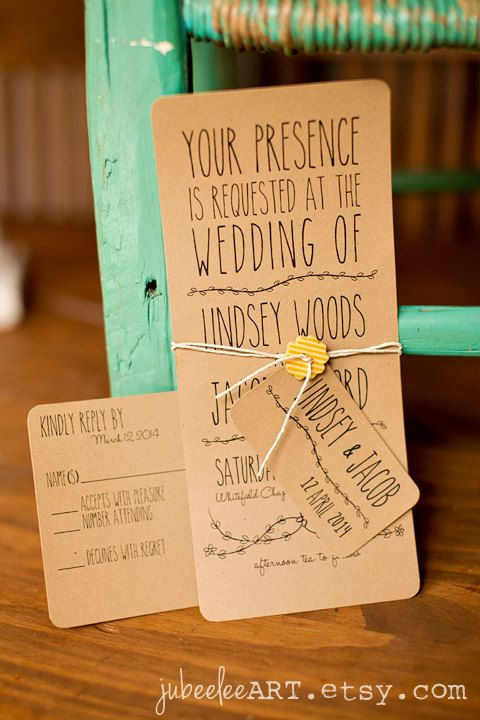 Whimsical rustic printable wedding invitation with leaf vine detail on Etsy, £15.47