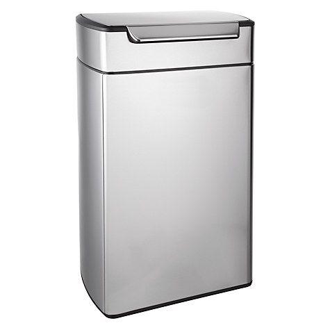 Buy simplehuman Rectangular Touch Bar Bin, Stainless Steel, 40L Online at johnlewis.com