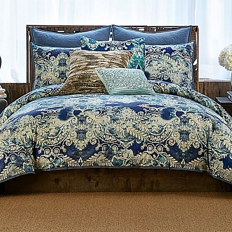 featuring a sea of ivory paisley print on a blue tiedyed ground the set offers a vintage