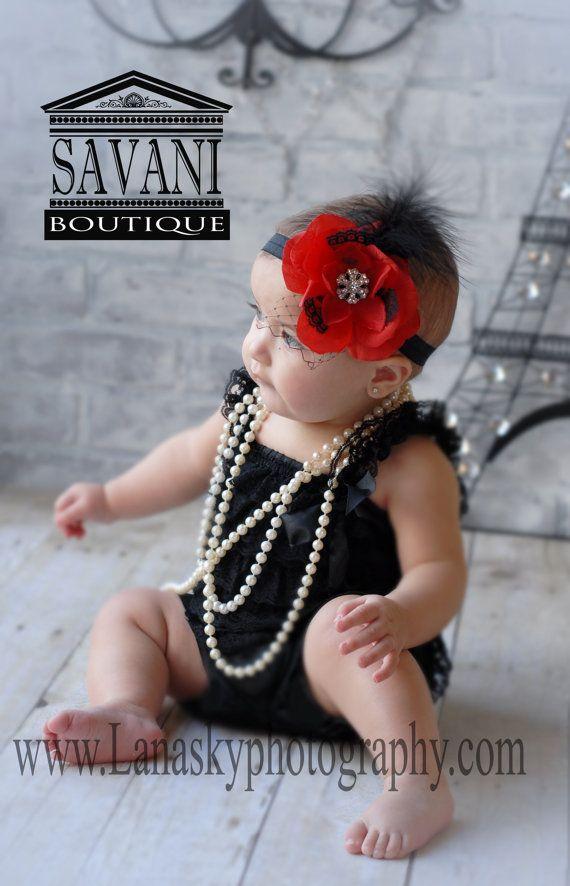 2 pieces Black and Red  Petti Romper Set. Lace Petti Romper , headband and romper, Baby Girl Photo Prop