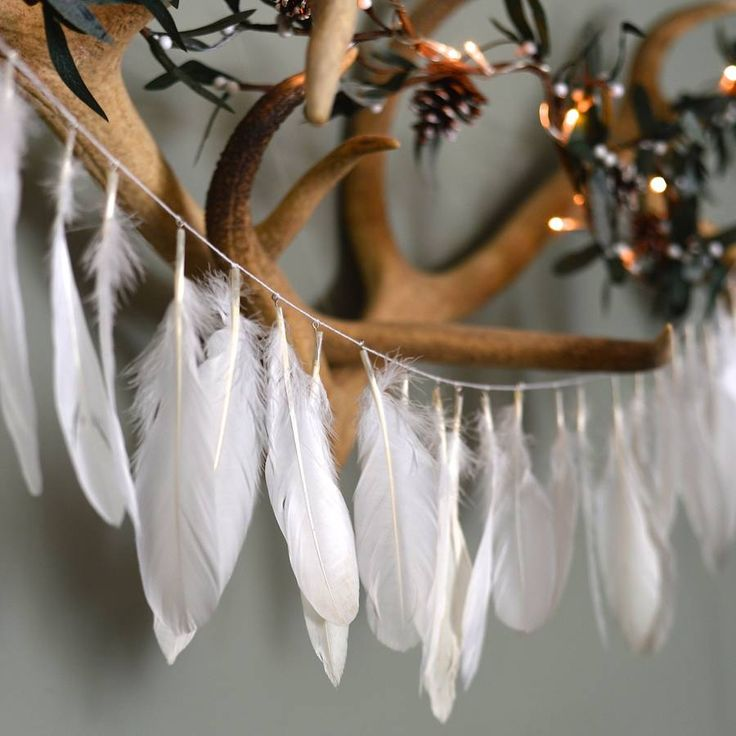 White Feather Garland. Bring the nature indoors. Each garland is made up of approximately 30 feathers on a piece of 1.2 metre twine. Although beautiful on a christmas tree, these are also stunning all-year-round decorations and make a lovely present.