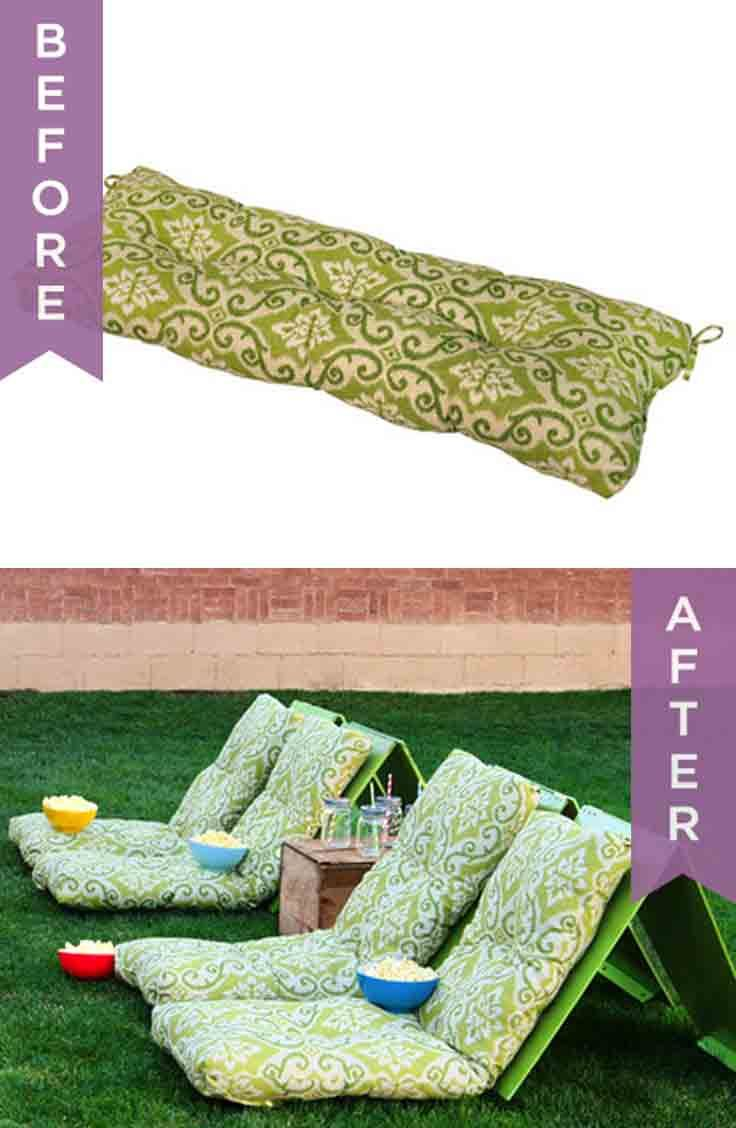 How to make DIY outdoor movie theater seats from lounge chair cushions!