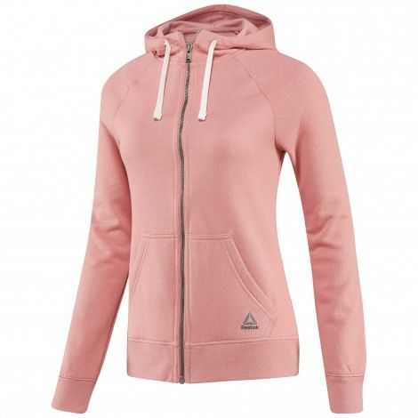 Reebok Elements Fleece Full Zip Hoodie fitness vest dames sandy rose De Wit Schijndel