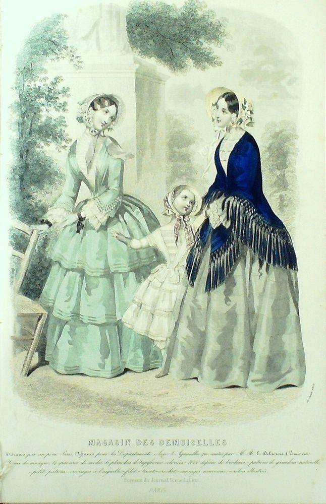 GRAVURE de MODE AUTHENTIQUE-M150-MAGASIN DEMOISELLES-ROBES DE VILLE-1853