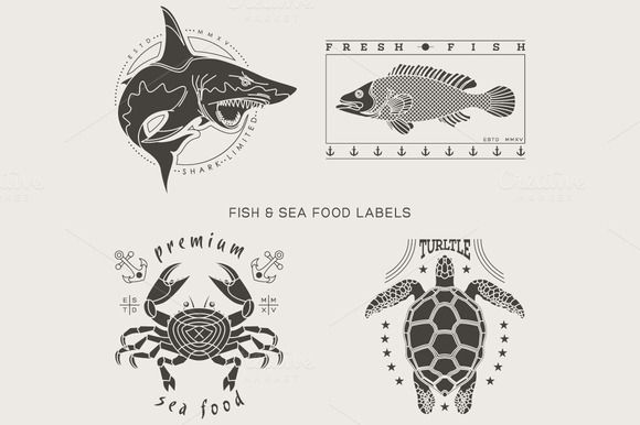 Vintage fish and sea food labels by karnoff on Creative Market