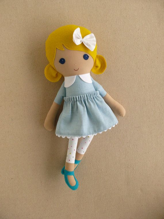 Fabric Doll Rag Doll Blond Haired Girl in Blue by rovingovine