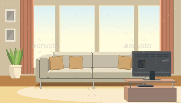 Living Room Interior With Sofa And Tv Flat Vector Interior Room