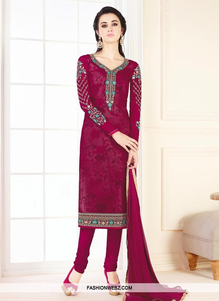 Add grace and charm on your appearance in this #fuchsia faux #georgette #churidar #salwar #kameez.