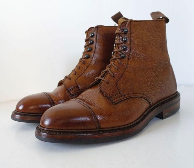 Crockett & Jones Men Coniston UK Made Hunter Derby Cap Toe Whisky Leather Boots #CrockettJones #Boots