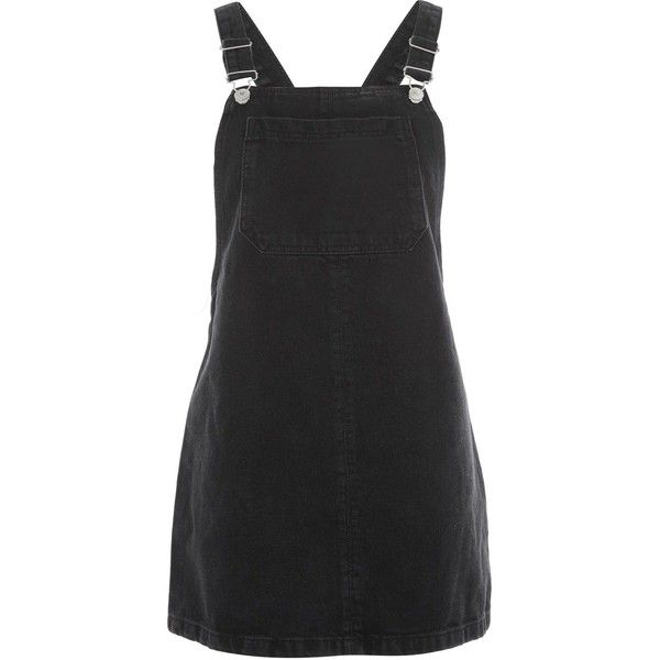 Topshop Moto Bib Pocket Pinafore Dress ($48) ❤ liked on Polyvore featuring dresses, pinafores, skirts, topshop, washed black, pinafore dress, topshop dresses, bib dress, pocket dress and pinny dress