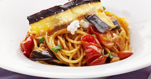 Spaghetti med aubergine och tomat | Recept från Köket.se