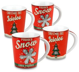 Celebrate Christmas the old-fashioned way with these retro holiday mugs. White, red and green design of Christmas trees and snowflakes.