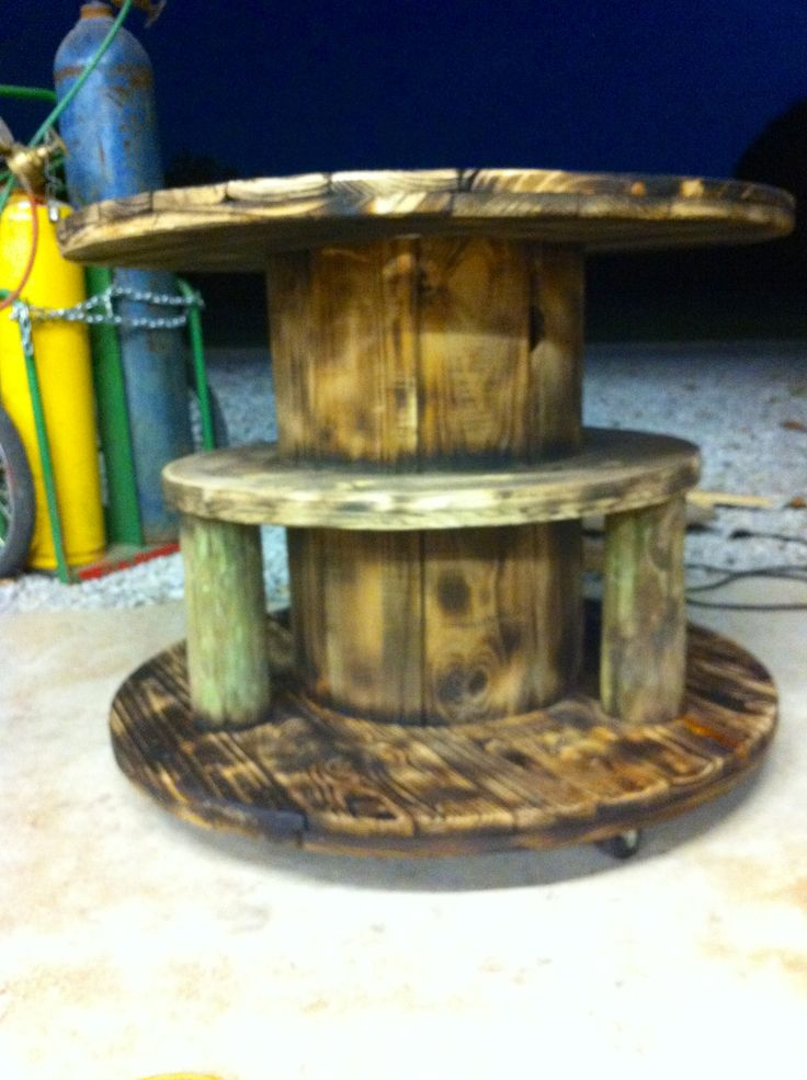 Wooden Electrical Cable Spool Table. Added A Shelf In The Middle And It Is  On