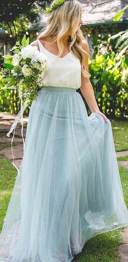 894c5ea8c70 Cheap Light Blue Bridesmaid Dresses Two Piece Tulle Long Bridesmaid ...