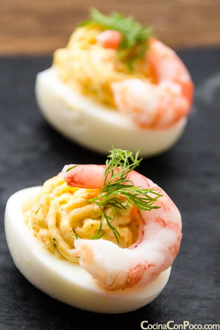 huevos rellenos recetas fácil gambas paso a paso