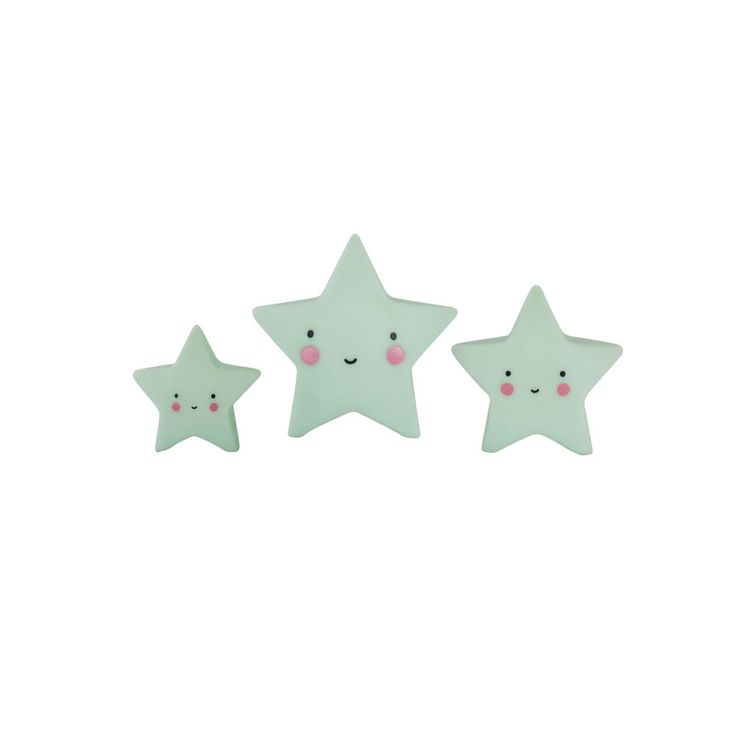 Lovely Little Company Minis Star Figurines: Aren't they cute? These three mini stars look super on a shelf in the kid's room, and are also fun to play with! Available in three colours!