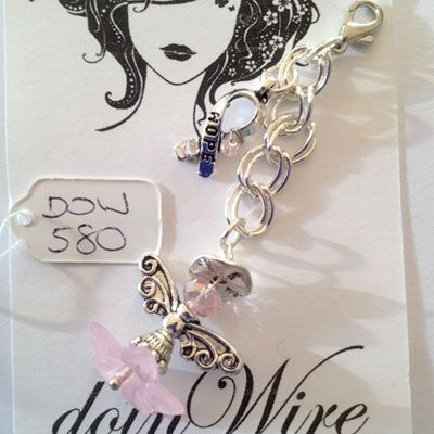 doinWire handcrafted craft wire Clip-On dangler Angel with halo, pink flower and Awareness Charm wrapped with lt pink crystals on chain. DOW580