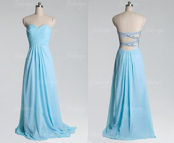 light blue dress blue prom dress long prom dress by fitdesign, $128.00