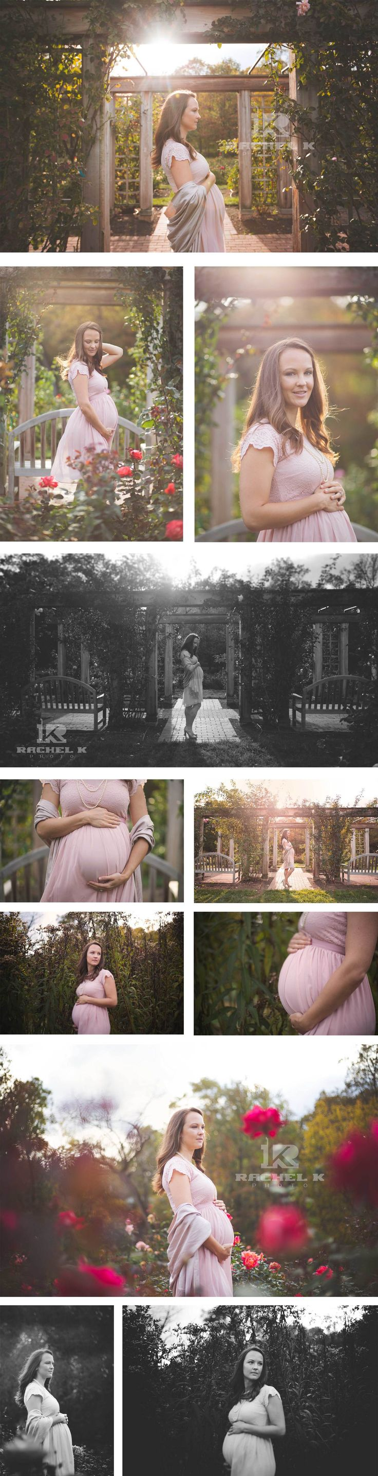 Breath taking maternity photos in rose garden by northern Virginia's premier on location maternity photographer Rachel K Photo.