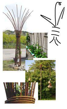 Garden Tree Umbrellas And Steel Rebar Structurers
