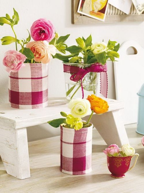 checkered textile wraped flower pots