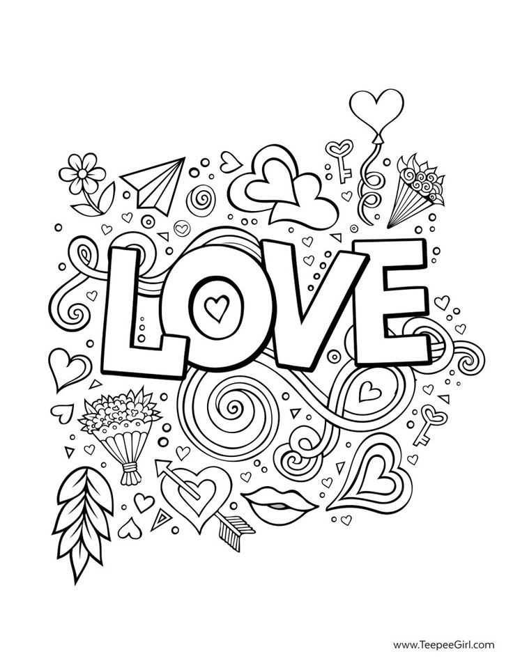 135 best images about Hearts + Love Coloring Pages for ...