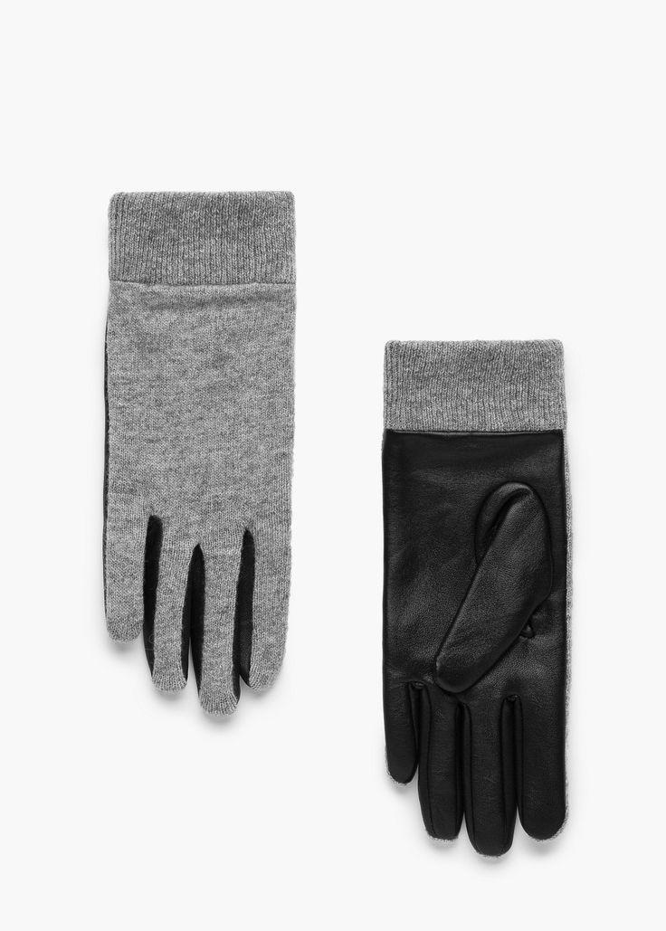 Rękawiczki skóra i wełna -  Kobieta   MANGO