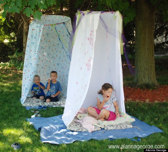 Hang an outside fort Forts can be fun outside, too. Just grab a shower curtain and hook the rings onto a hula-hoop. Suspend it from a tree and there you have it: a clean, cool place to read, play with action figures or use as home base.