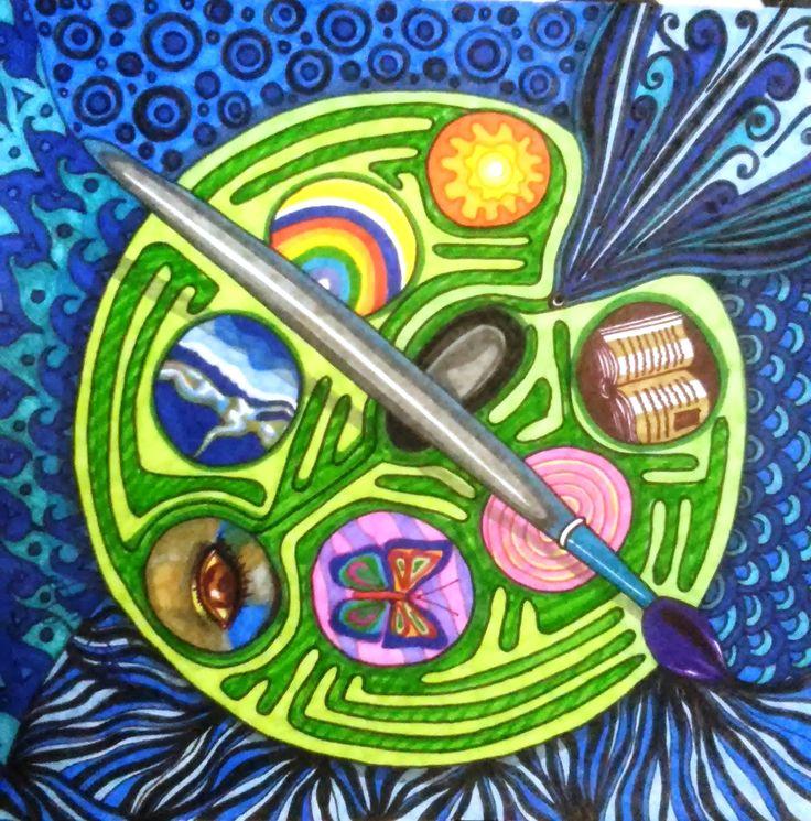 Título: Lo que me pinta Autor: Aurora Luna Walss Dimensiones: 39 X 39 cm Técnica: Sharpies sobre papel